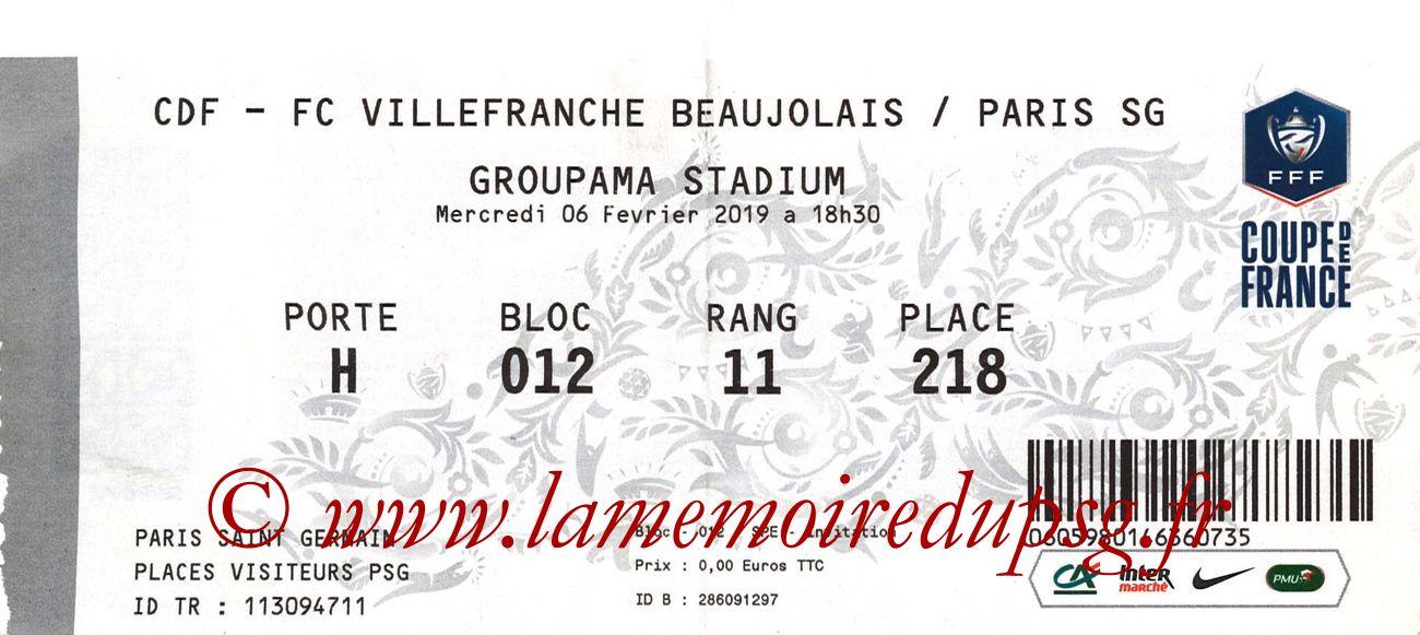 2019-02-06  Villefranche Beaujolais-PSG (8ème CF à Lyon)