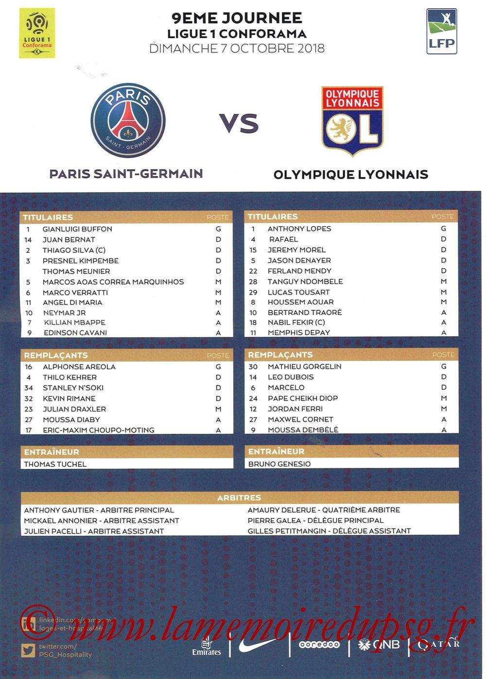 2018-10-07  PSG-Lyon (9ème L1, Feuille de match)