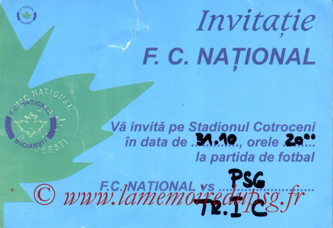 Tickets  National Bucarest-PSG  2002-03