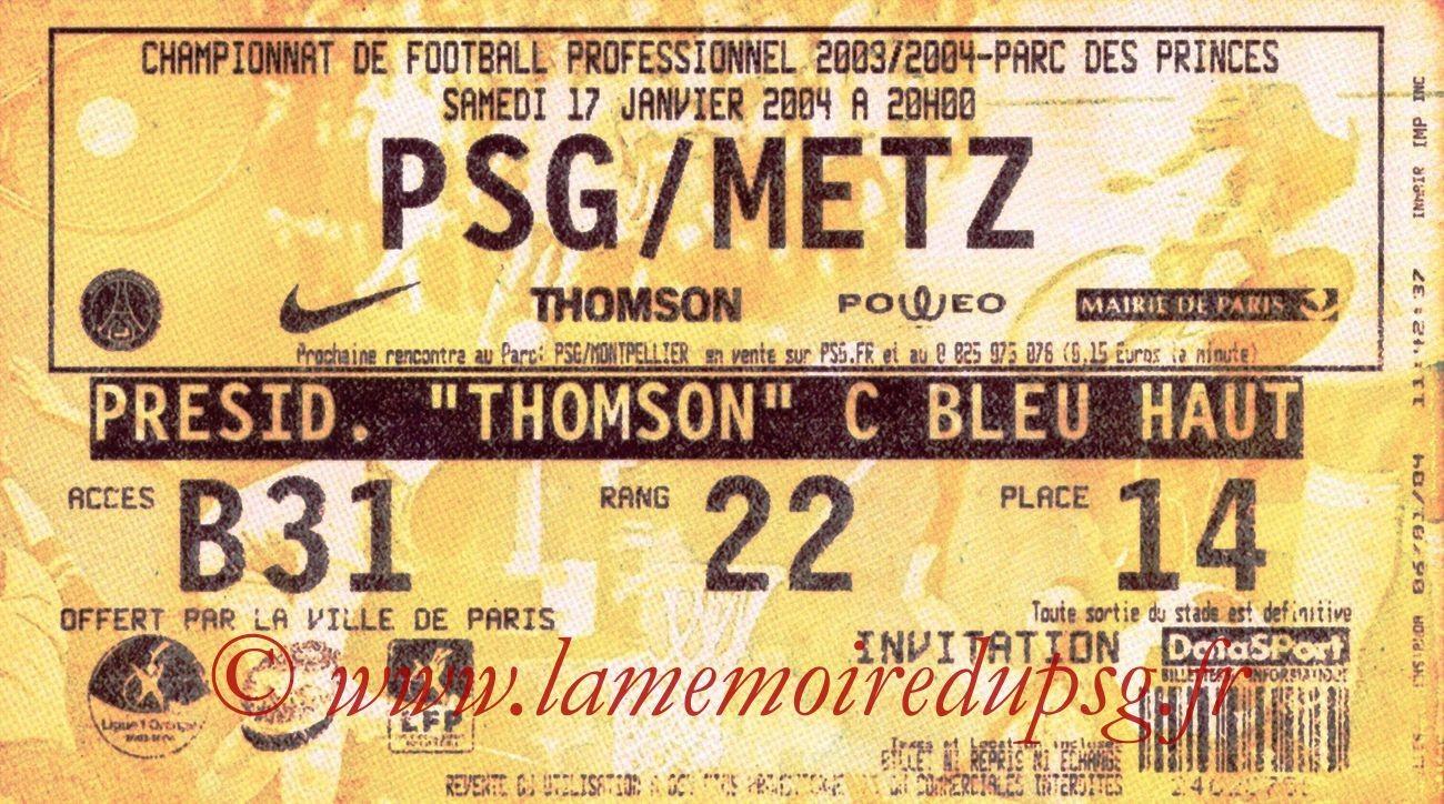 2004-01-17   PSG-Metz (21ème L1, bis)