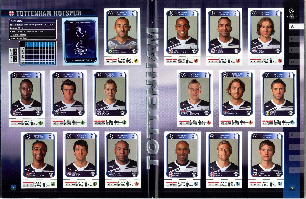 2010-11 - Panini Champions League - Pages 08 et 09 - Tottenham Hotspur