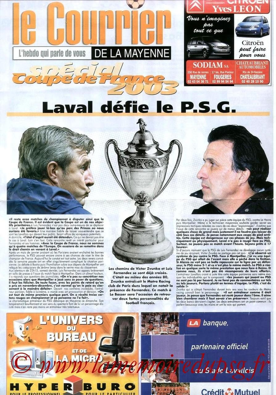 2003-02-16  Laval-PSG (8ème Finale CF, Le Courrier de la Mayenne)