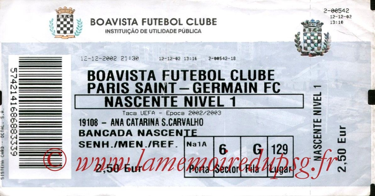 2002-12-12  Boavista Porto-PSG (16ème Finale Retour C3)