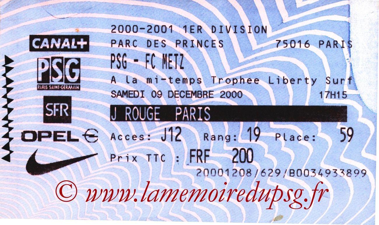 2000-12-09  PSG-Metz (20ème D1, Billetel)