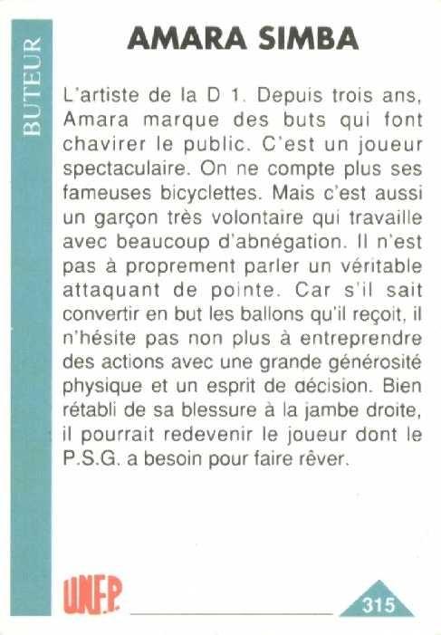 N° 315 - Amara SIMBA (Verso)
