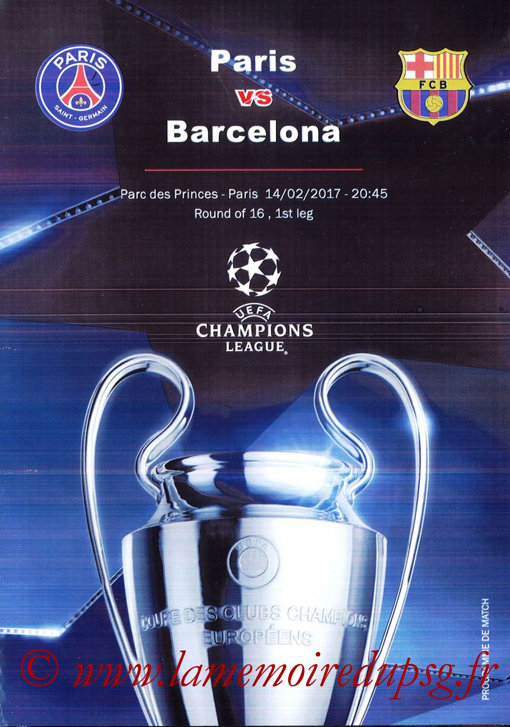 2017-02-14  PSG-Barcelone (8ème C1 aller, Programme pirate)