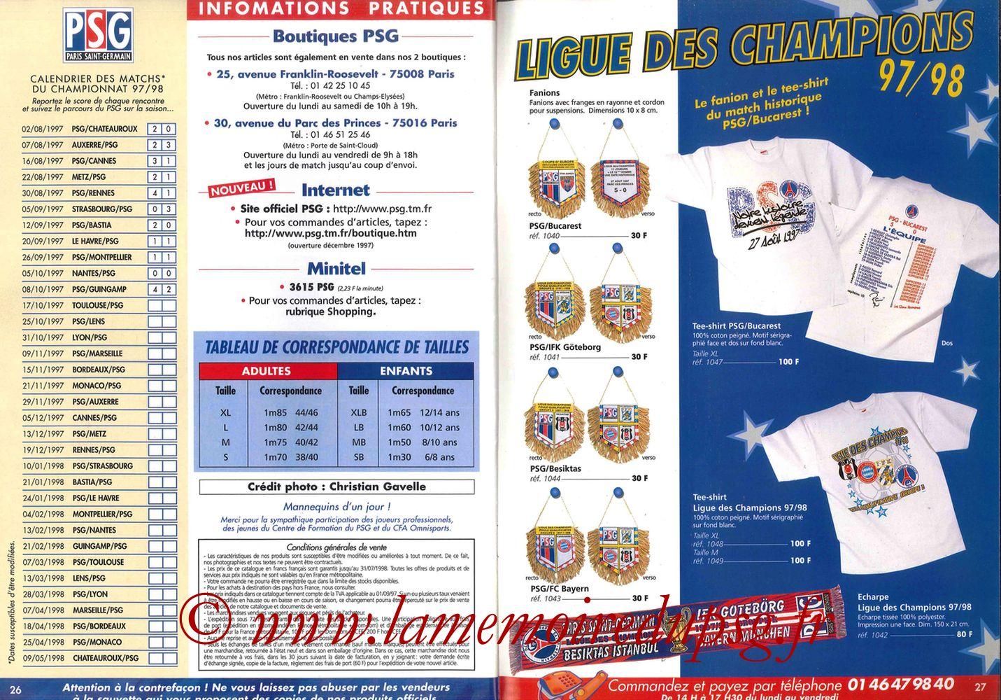 Catalogue PSG - 1997-98 - Pages 26 et 27