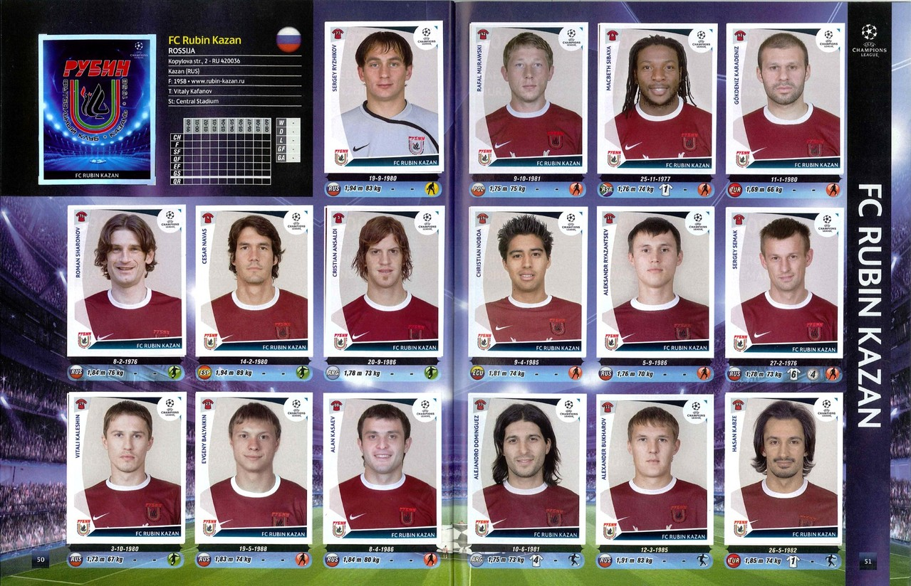 2009-10 - Panini Champions League - Pages 50 et 51 - FC Rubin Kazan