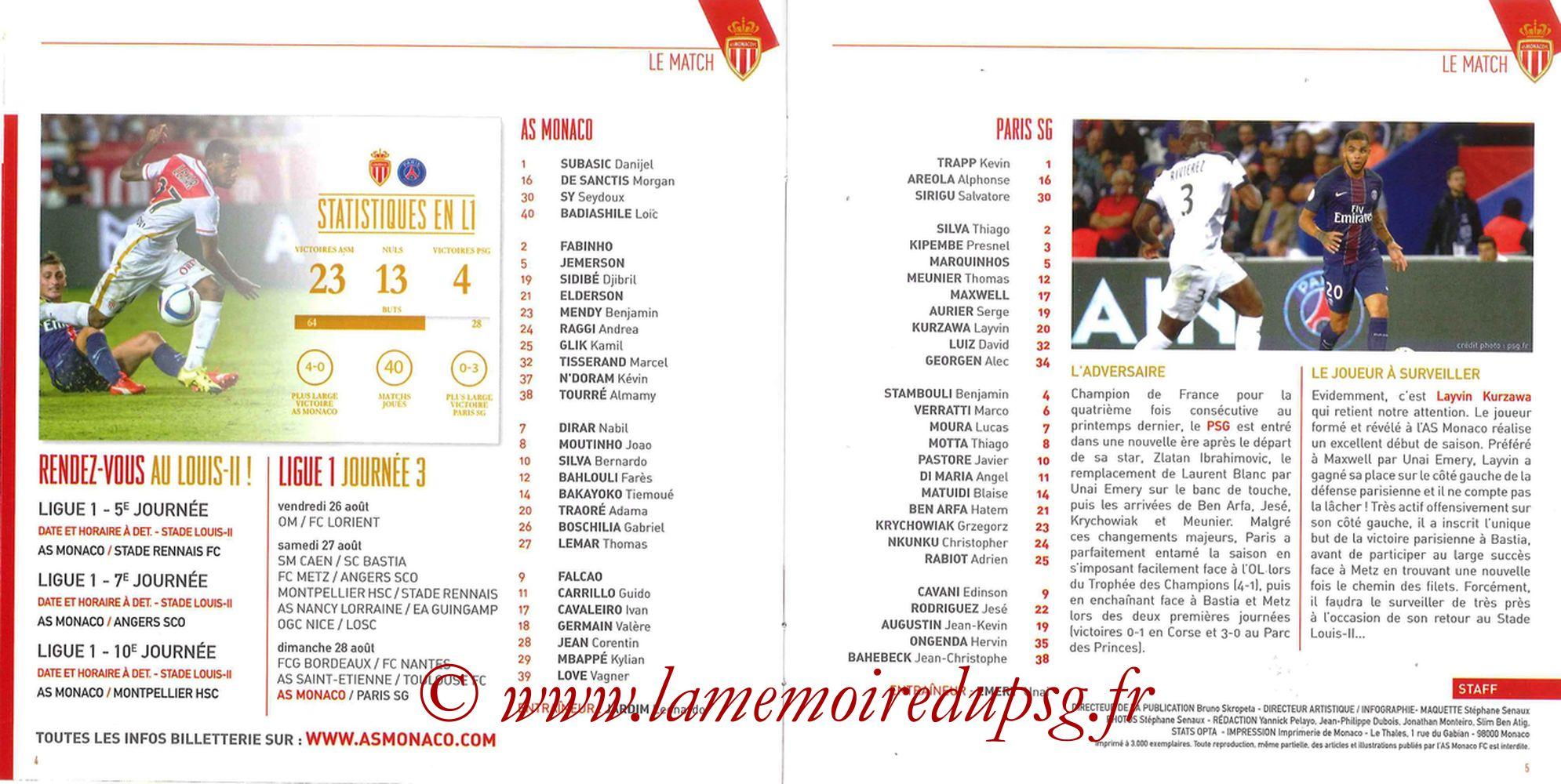 2016-08-28  Monaco-PSG (3ème L1, Programme officiel) - Pages 04 et 05