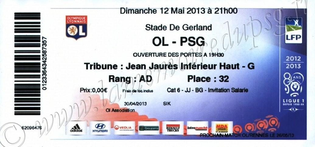 2013-05-12  Lyon-PSG (36ème L1)