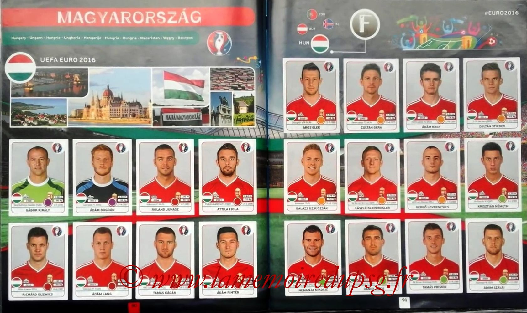 Panini Euro 2016 Stickers - Pages 90 et 91 - Hongrie