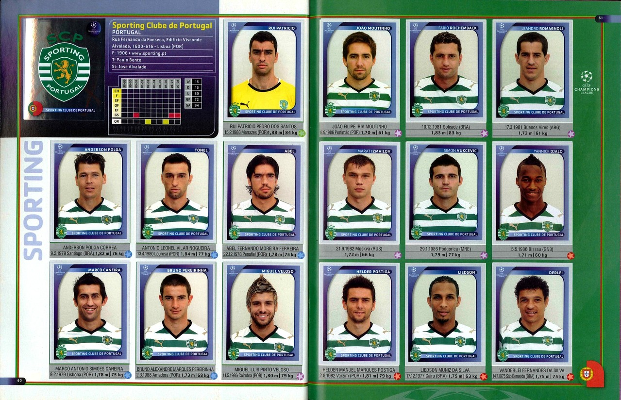 2008-09 - Panini Champions League - Pages 60 et 61 - Sporting Club de Portugal