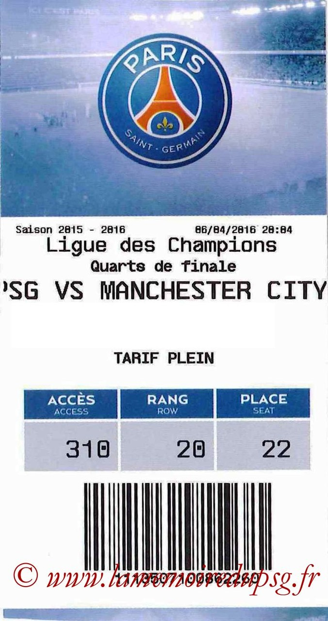 2016-04-06  PSG-Manchester City (Quart Aller C1, E-ticket)