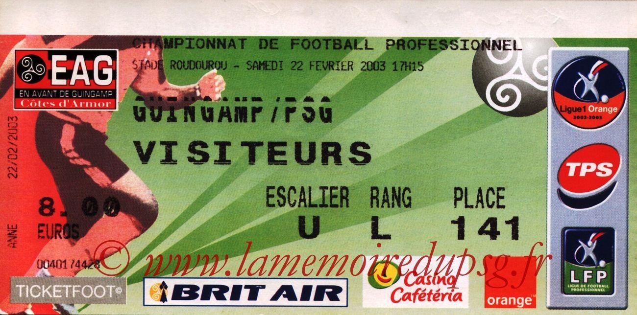 2003-02-22  Guingamp-PSG (28ème L1)