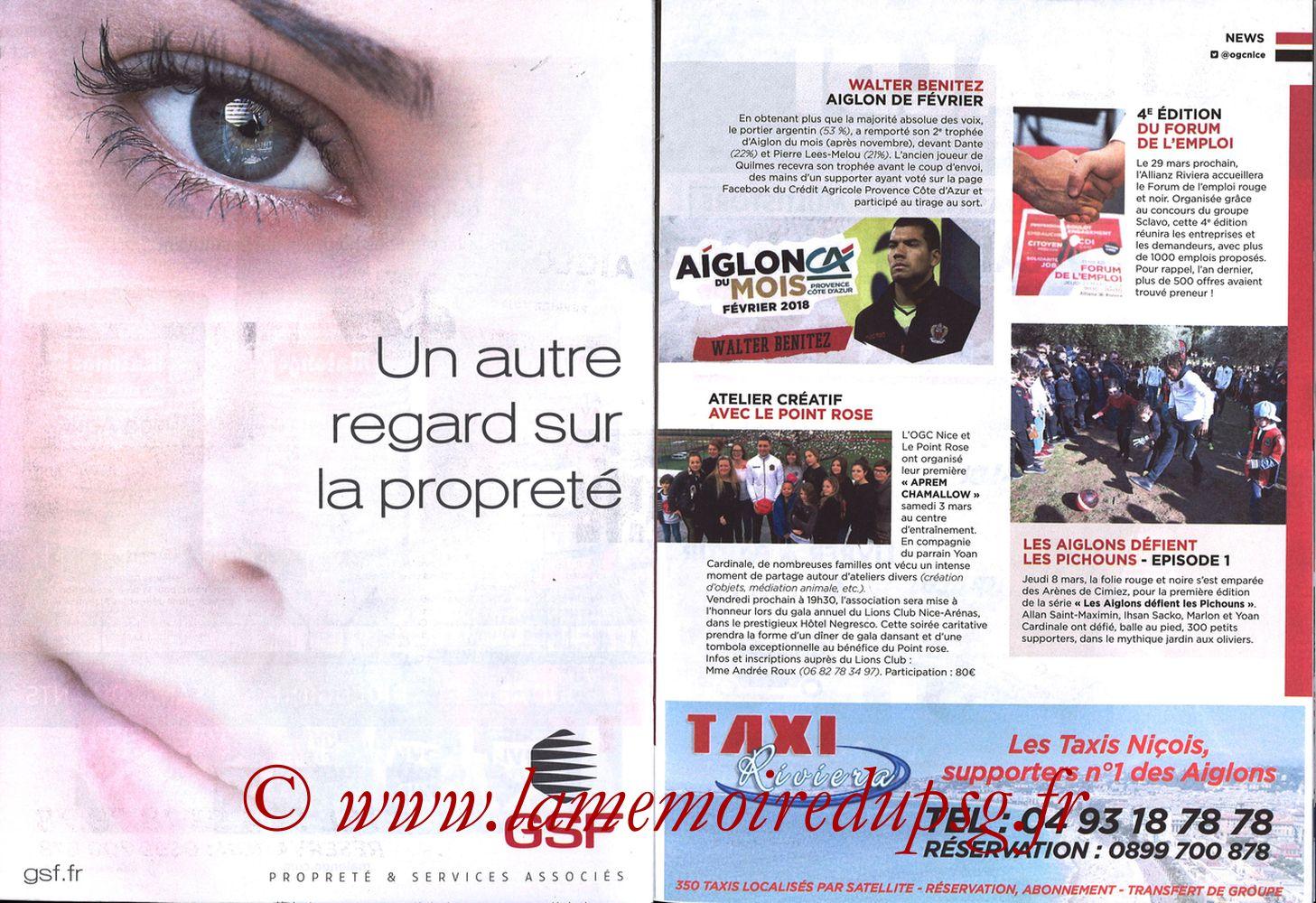 2018-03-18  Nice-PSG (30ème L1, OGC Nice Mag N°306) - Pages 20 et 21