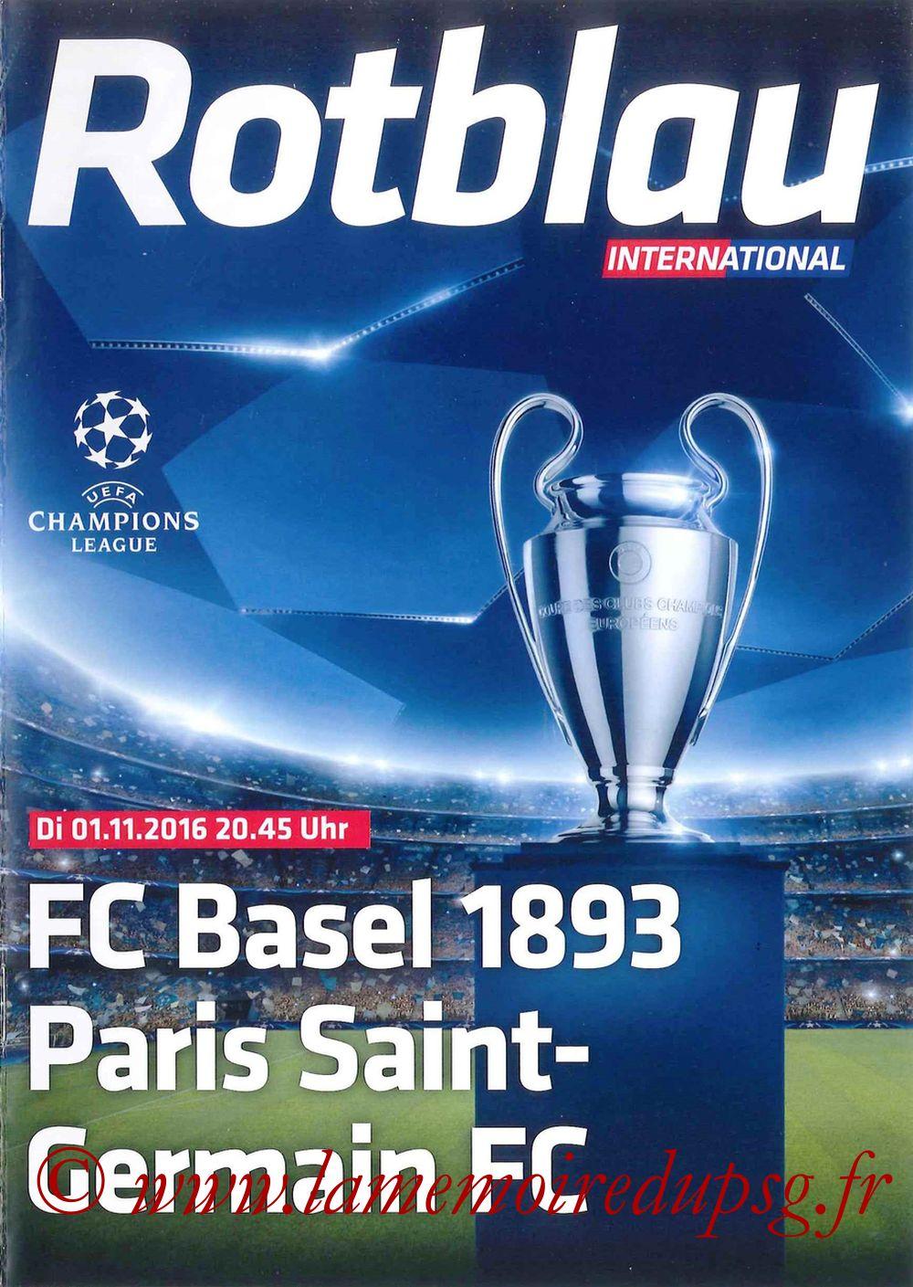 2016-11-01  FC Bale-PSG (4ème C1, Programme officiel)