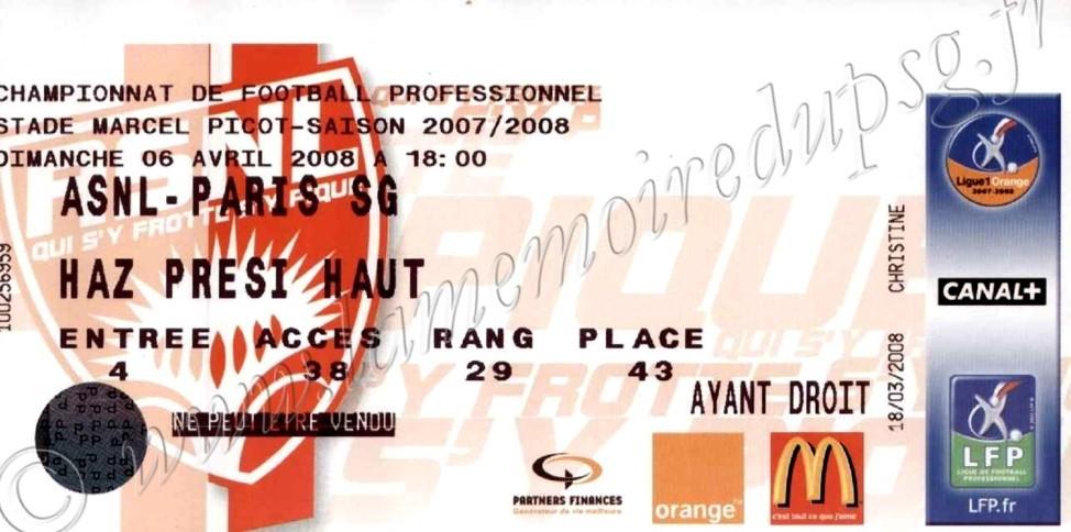 2008-04-06  Nancy-PSG (32ème L1)