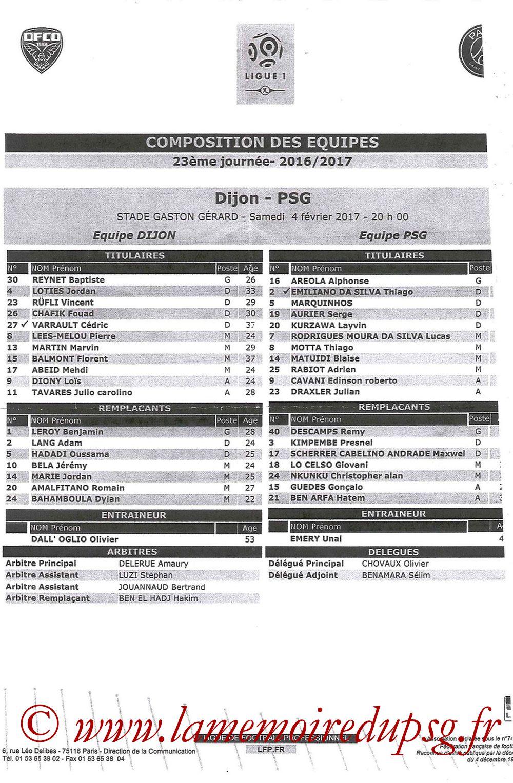 2017-02-04  Dijon-PSG (23ème L1, Feuille de match)
