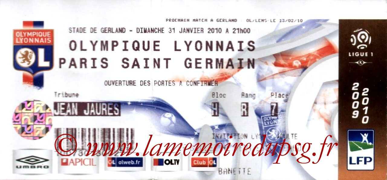 2010-01-31  Lyon-PSG (22ème L1)