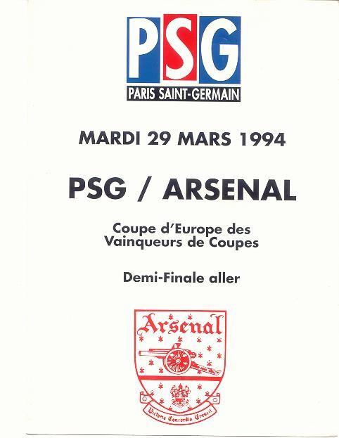 1994-03-29  PSG-Arsenal (Demi-Finale Aller, Programme officiel HS)