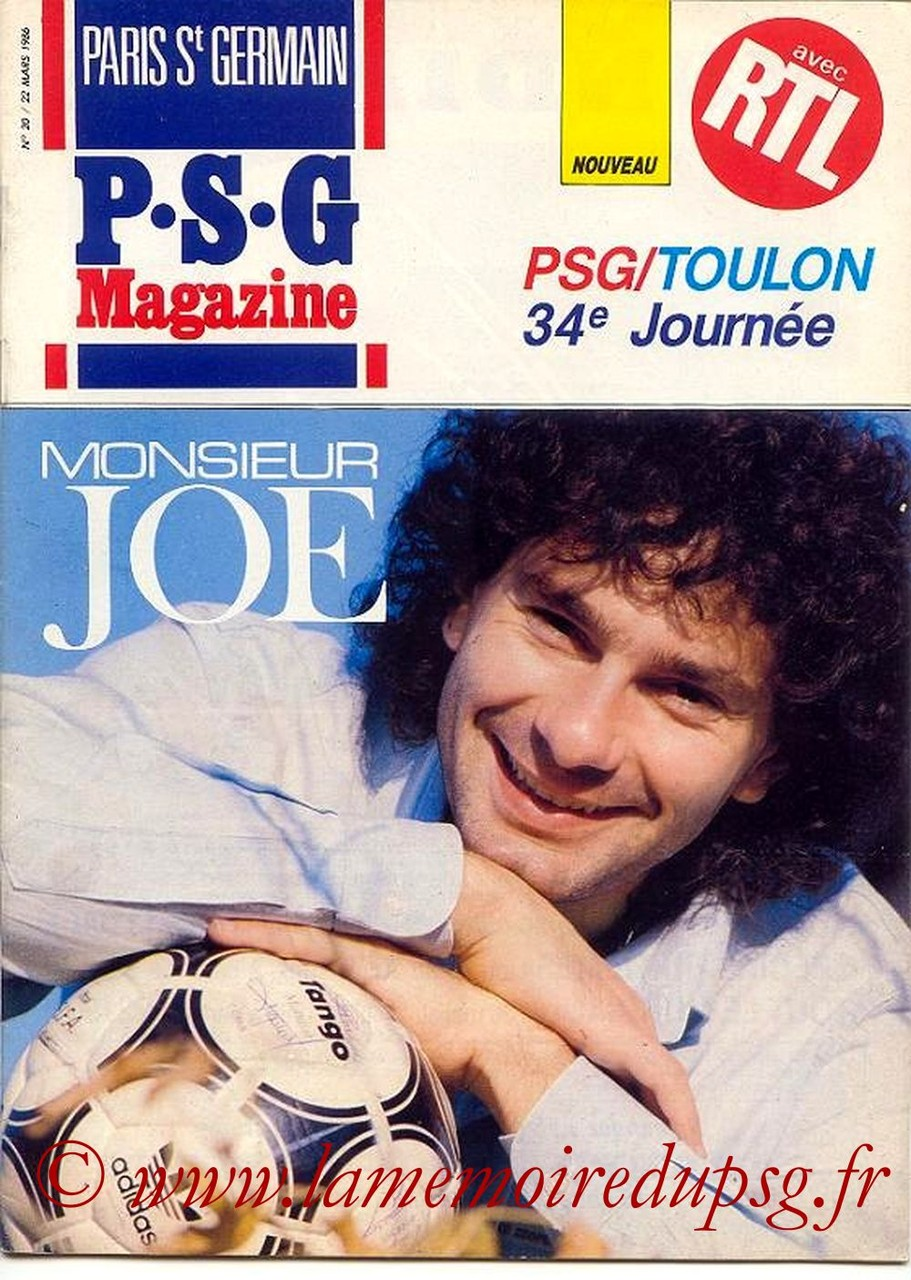 1986-03-22  PSG-Toulon (34ème D1, Paris St Germain Magazine N°20)