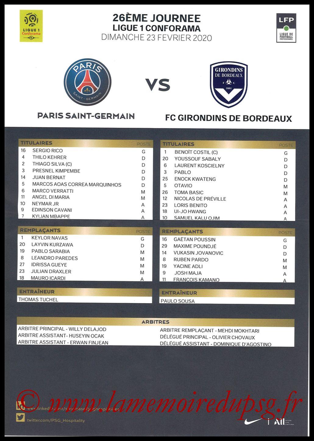 2020-02-23  PSG-Bordeaux (26ème L1, Feuille de match)