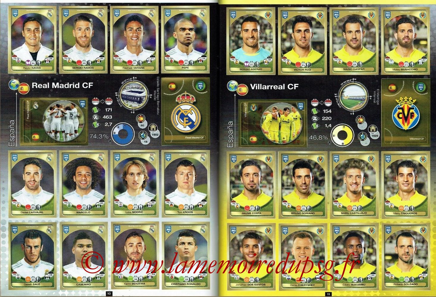 2016-17 - Panini FIFA 365 Stickers - Pages 10 et 11 - Real Madrid CF + Villarreal CF