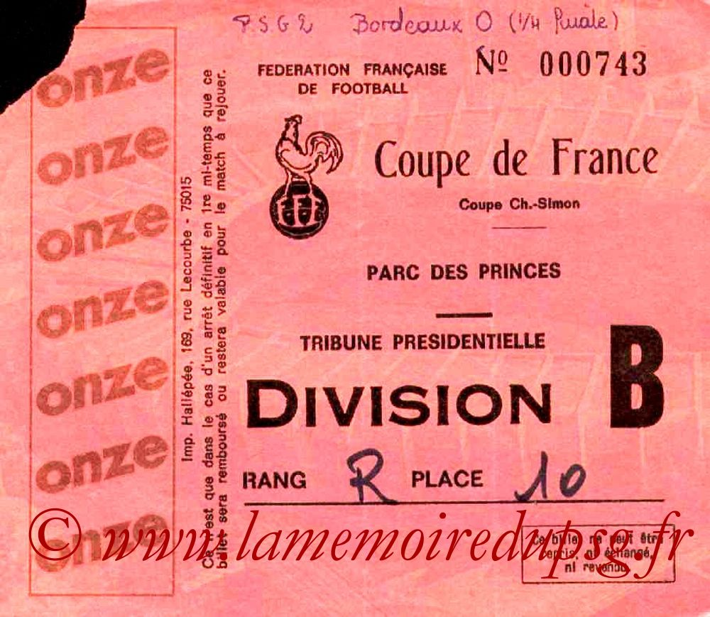 Ticket  PSG-Bordeaux  1981-82
