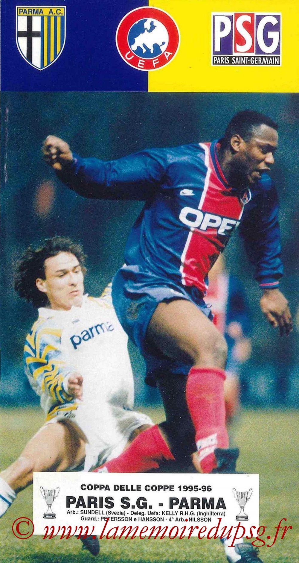 1996-03-21  PSG-Parme (Quart Finale Retour C2, Programme officiel Parme)