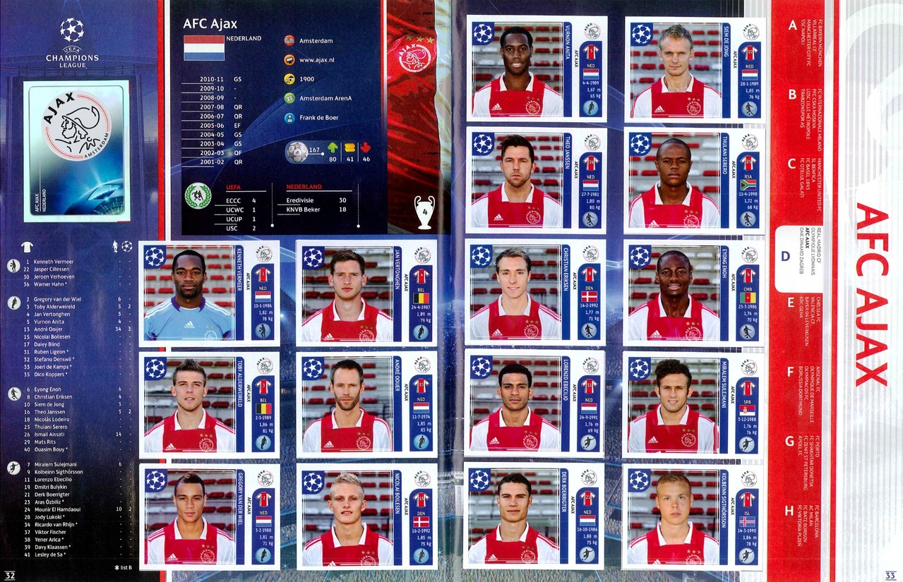 2011-12 - Panini Champions League - Pages 32 et 33 - AFC Ajax
