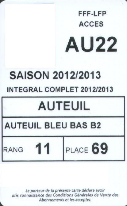 Carte d'abonné PSG 2012-13