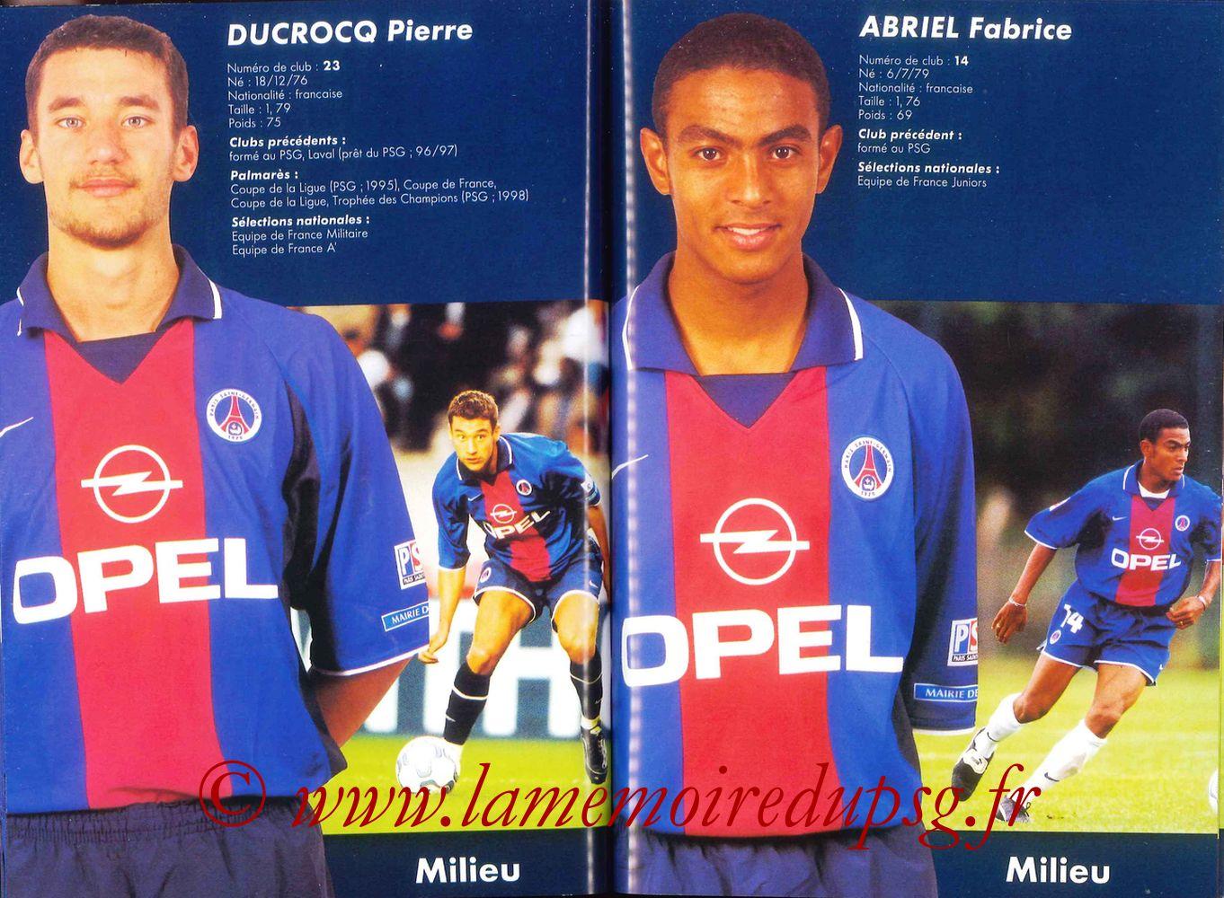 2000-01 - Guide de la Saison PSG - Pages 52 et 53