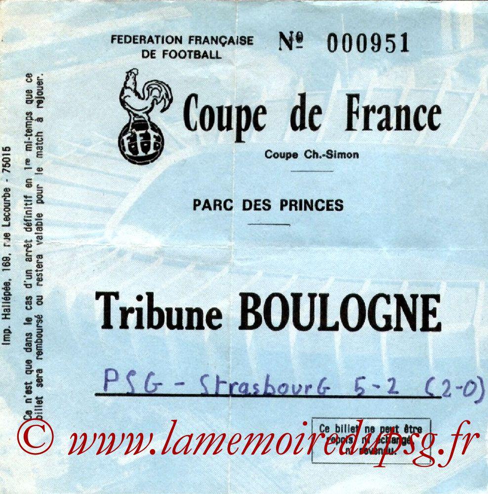 Ticket  PSG-Strasbour  1982-83