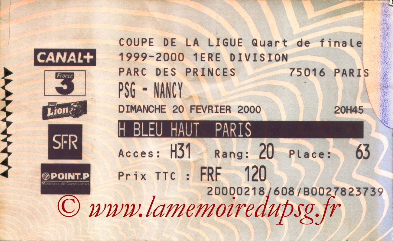 2000-02-20  PSG-Nancy (Quart Finale CF, Billetel)