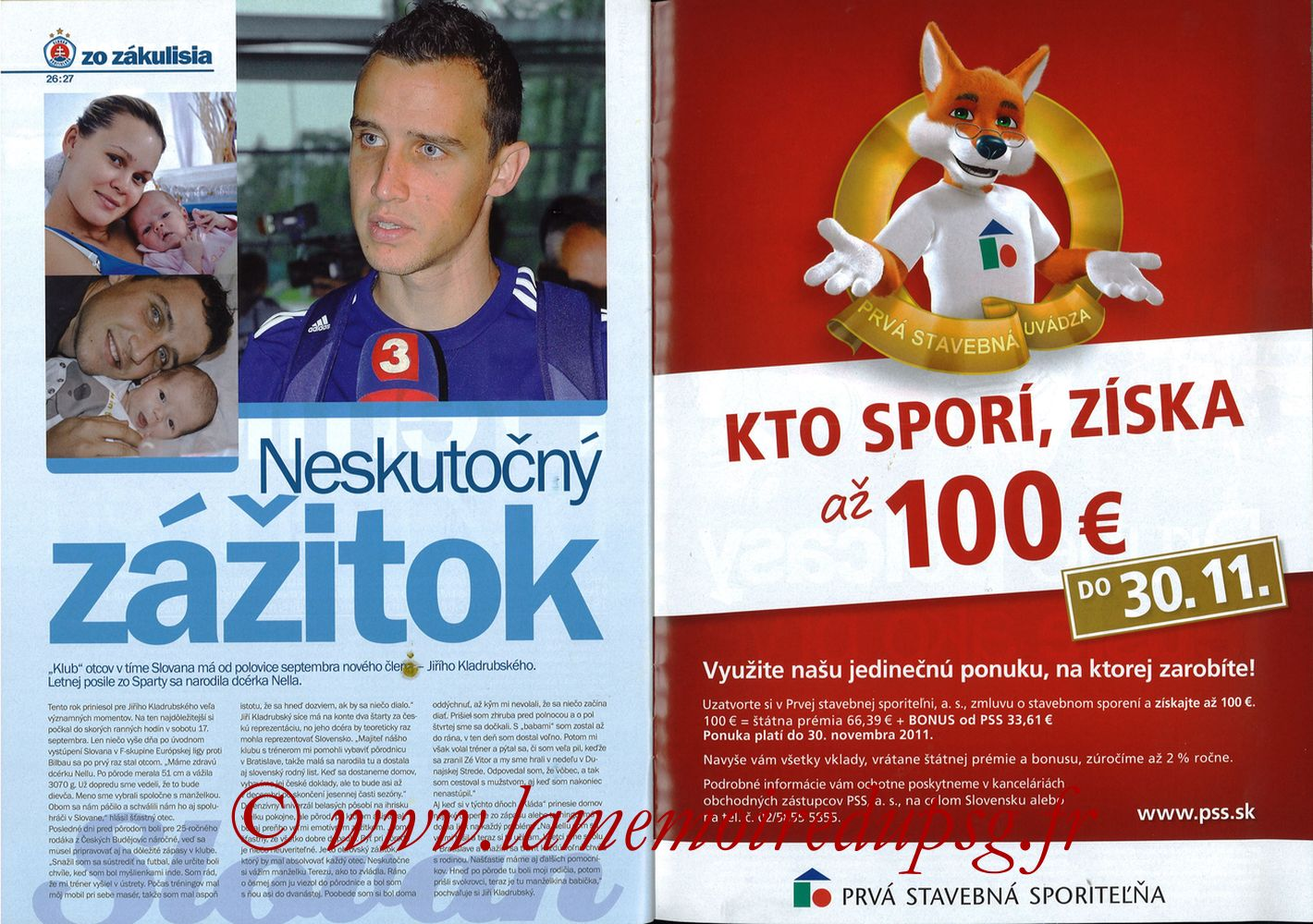 2011-10-20  Slovan Bratislava-PSG (3ème C3, Slovan N°4) - Pages 26 et 27