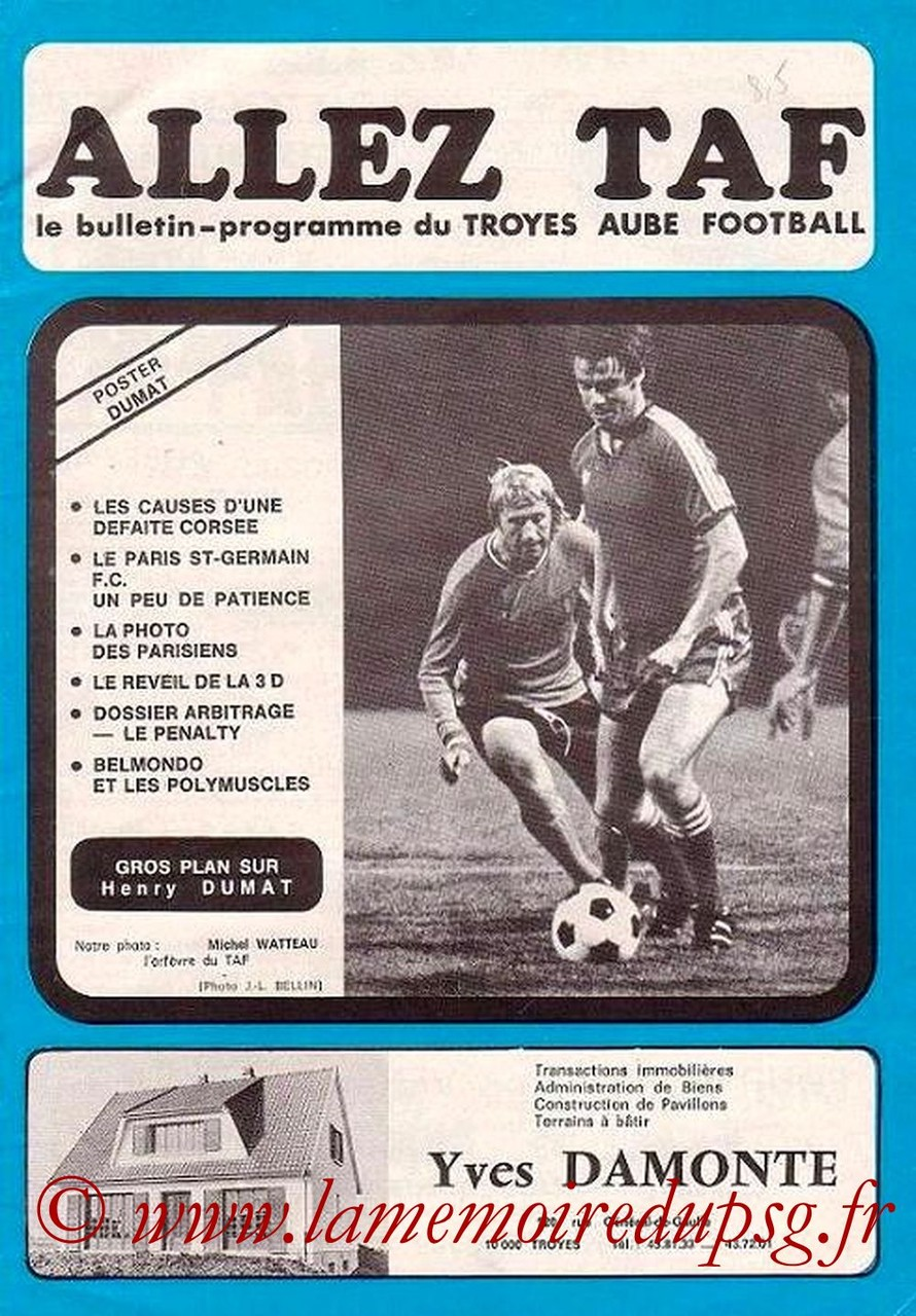 1974-10-26  Troyes-PSG (13ème D1, Allez TAF)