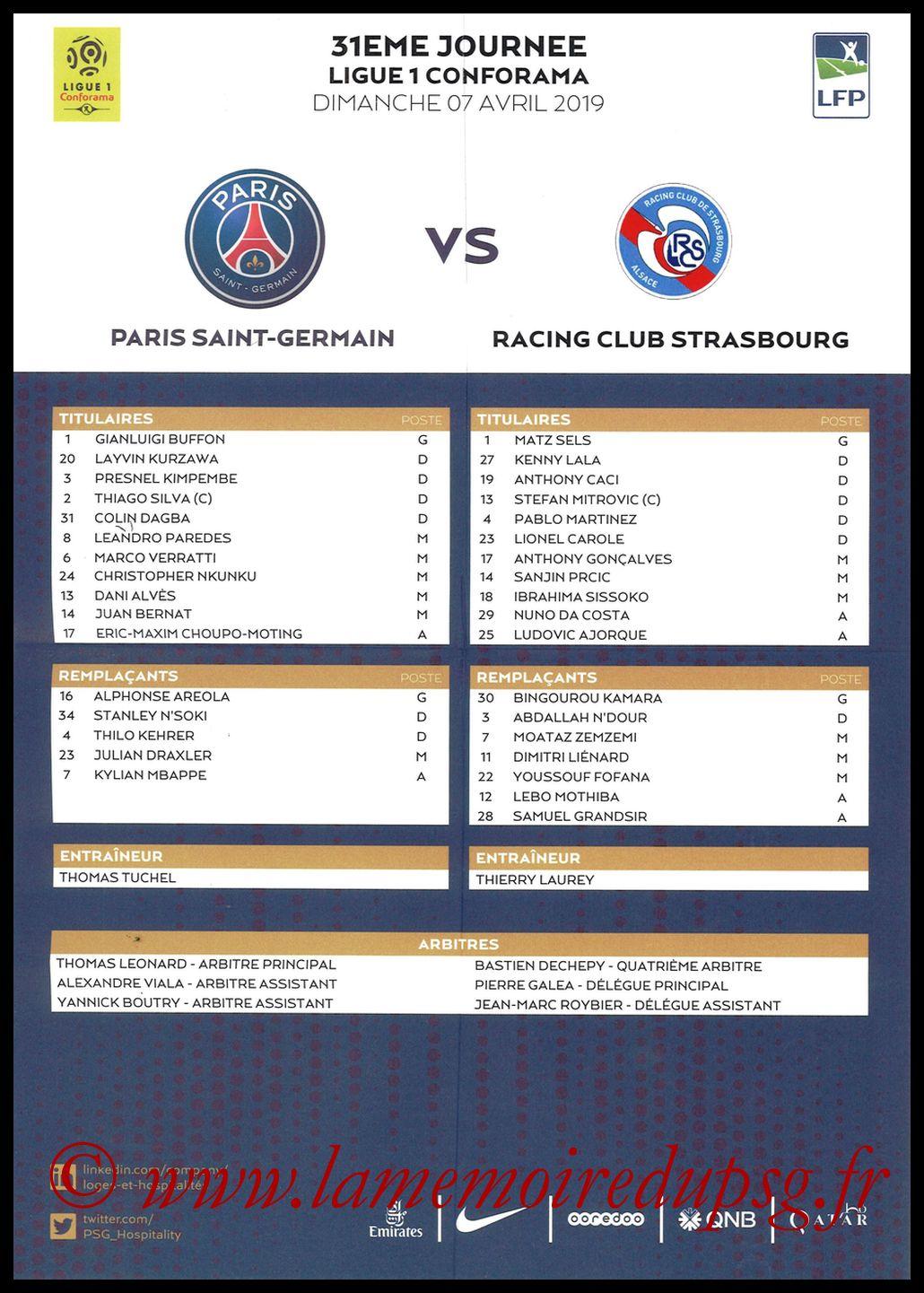 2019-04-07  PSG-Strasbourg (31ème L1, Feuille de match)