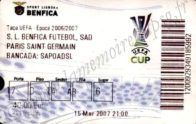 2007-03-15  Benfica-PSG (8ème Finale retour C3)