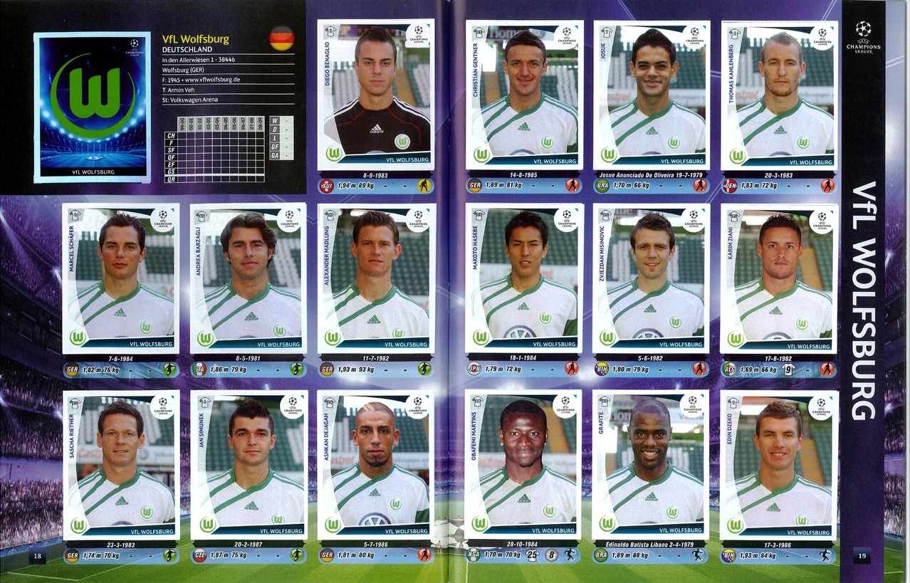 2009-10 - Panini Champions League - Pages 18 et 19 - VFL Wolfsburg