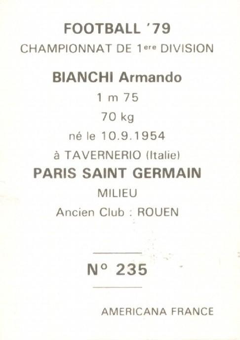 N° 235 - Armando BIANCHI (Verso)
