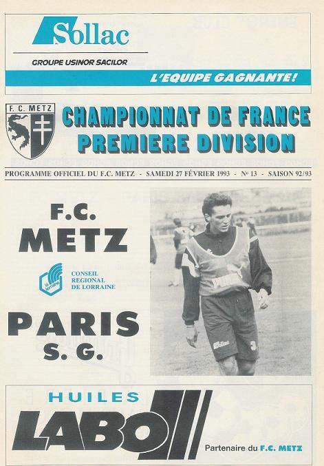 1993-02-27  Metz-PSG (27ème D1, Programme officiel N° 13)