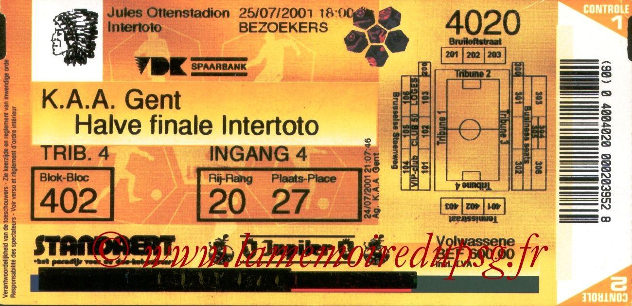 2001-07-25  La Gantoise-PSG (Demi-Finale Aller Intertoto)