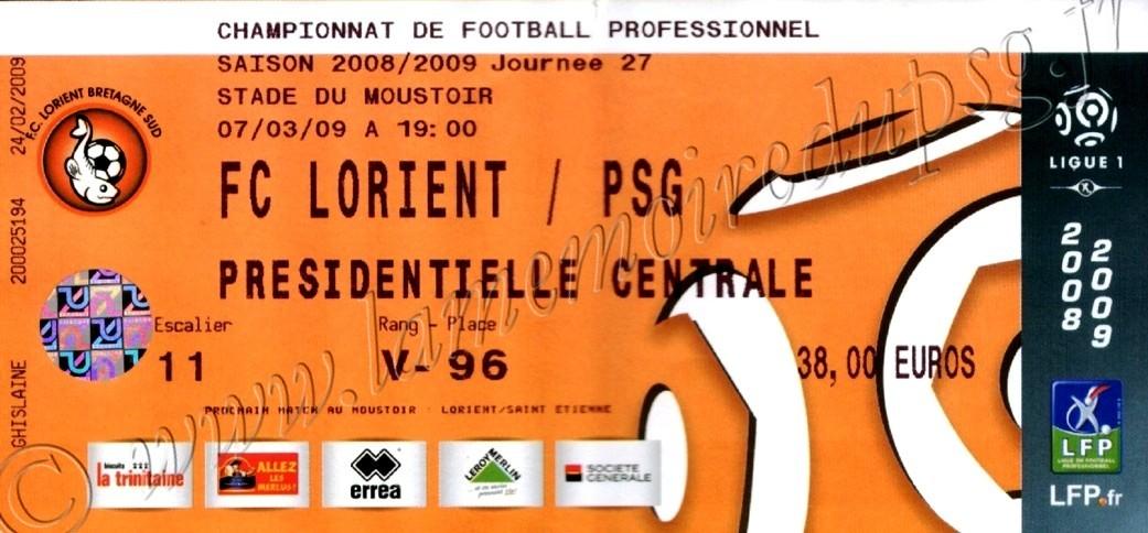 2009-03-07  Lorient-PSG (27ème L1)