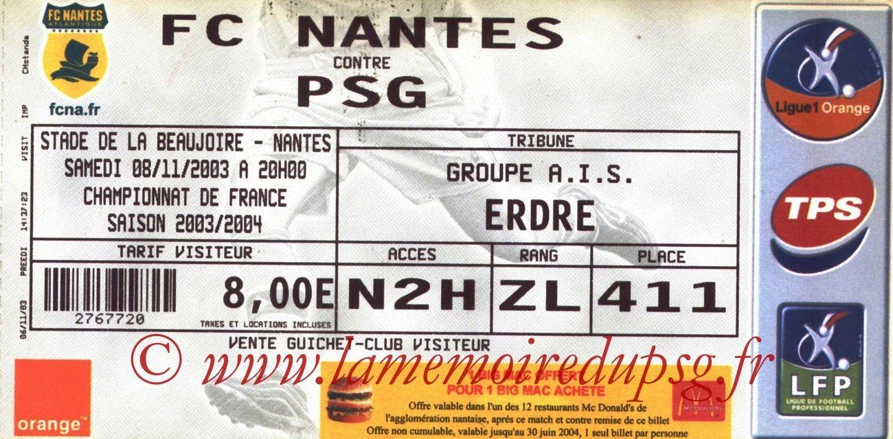 2003-11-08   Nantes-PSG  (13ème L1)