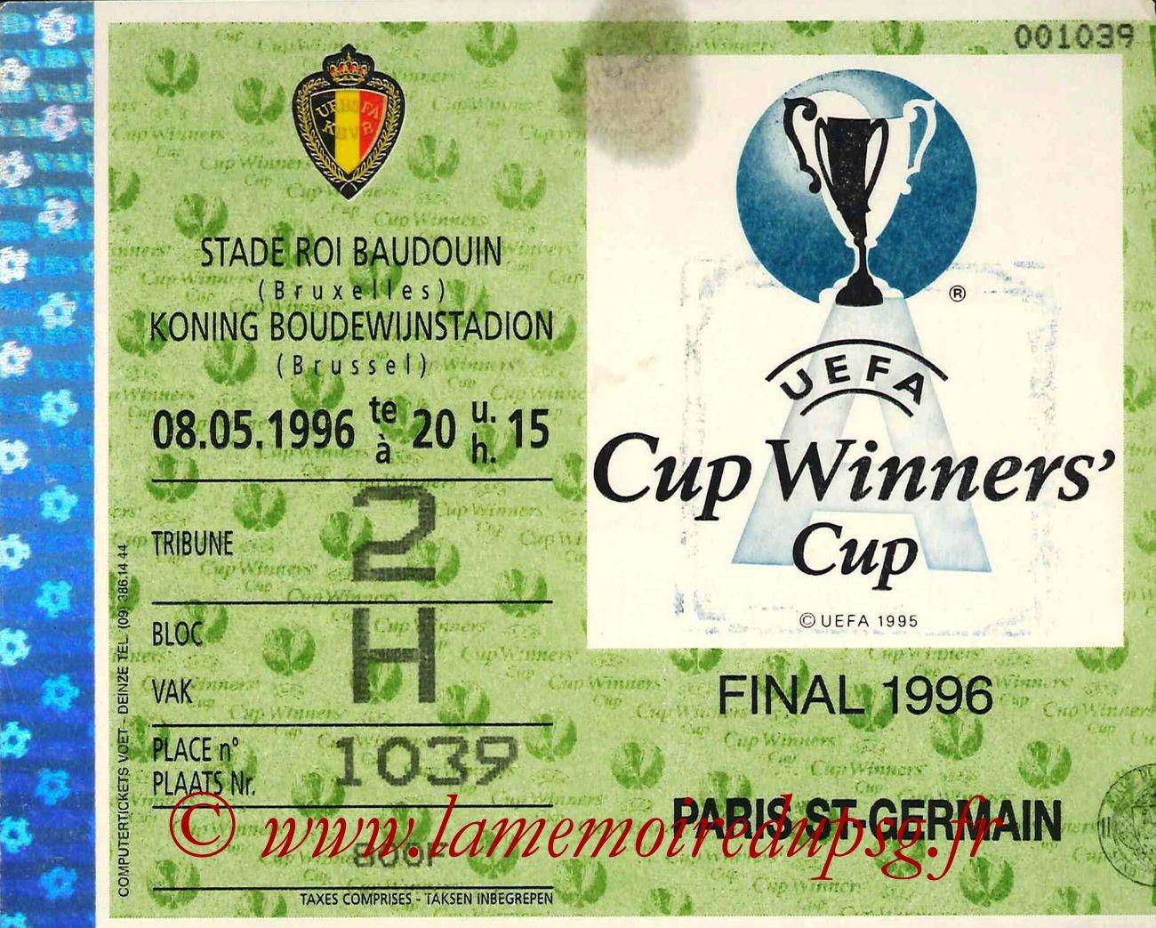 1996-05-08  PSG-Rapid Vienne (Finale C2 à Bruxelles)bis (que je n'ai pas)