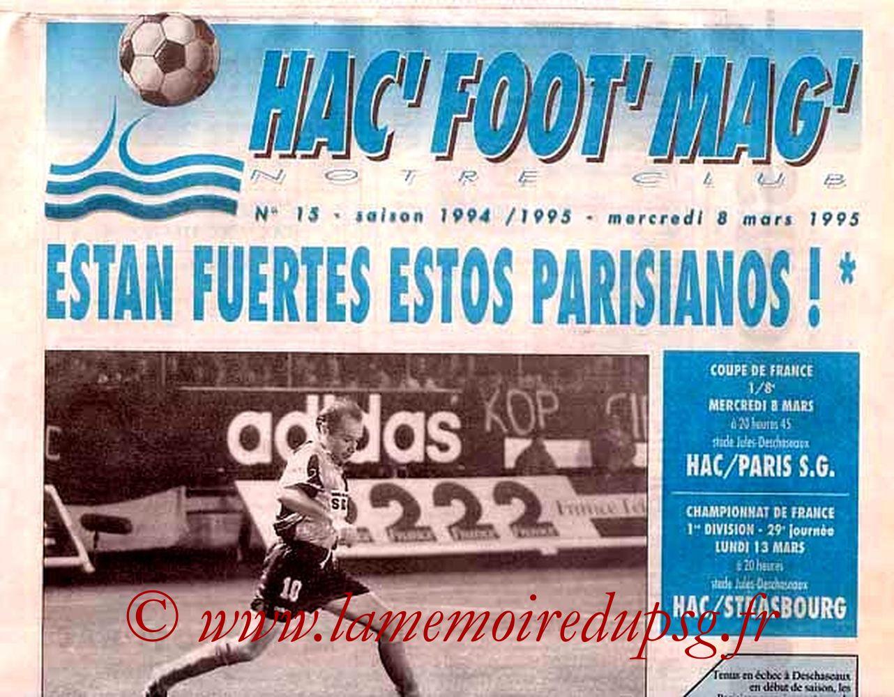 1995-03-08  Le Havre-PSG (8ème finale CF rejoué, Hac Foot Mag N°15)