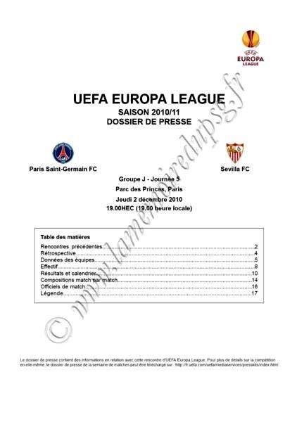 2010-12-02 - PSG-Seville (5ème poule C3, Dossier de presse)