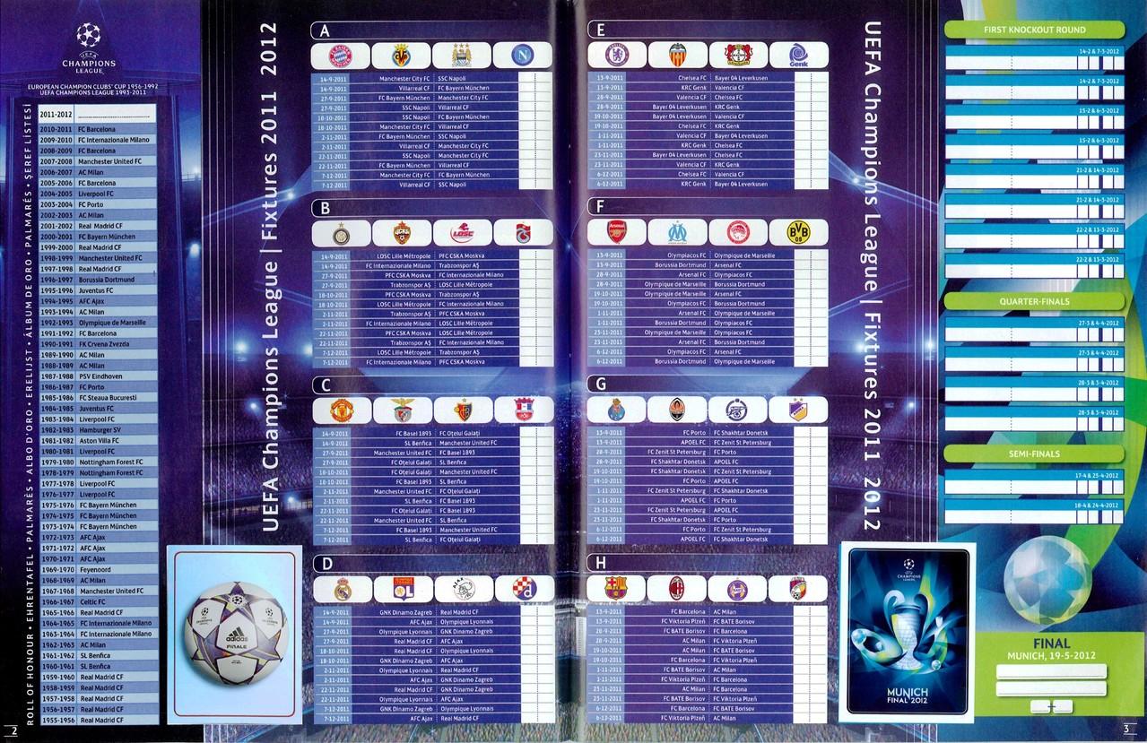 2011-12 - Panini Champions League - Pages 02 et 03 - Tableau des Poules