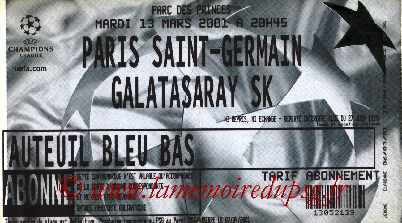 2001-03-13  PSG-Galatasaray (2ème Phase C1, 6ème Journée)