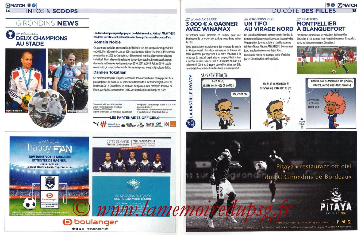 2017-02-10  Bordeaux-PSG (25ème L1, Girondins Match N°35) - Pages 14 et 15